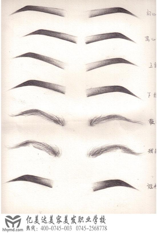 亿美达学校初级化妆班:丁玉婷(手绘素描眉毛、眼睛作品)。 丁玉婷现在初级化妆班学习化妆,之前学过素描有一定的基础,所以在手绘图上来说有很大的优势。学习化妆不要求有任何绘画基础,但有素描功底学习起来会更容易一些。  素描的画法跟化妆的还是有很大不同的,素描眉毛的画法是需要了解眉弓与眼眶的骨骼关系才可以画好。素描的画法不可一条线连下来,需要找准骨点。化妆的画法比素描的要更简单易懂,零基础的几天时间内也可以画的很好哦。  手绘画眼睛比眉毛更难一些,这是丁玉婷课余时间画的各种眼型素描图,不愧是有基础的,很漂亮哦&